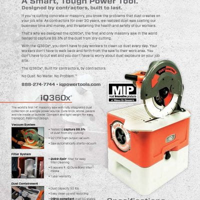 IQ360z  IQ 14″ Masonry Saw with Built