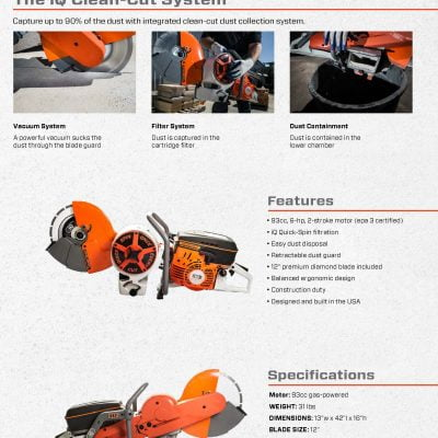 IQPC912v Power Cutter System – Cut Off Saw